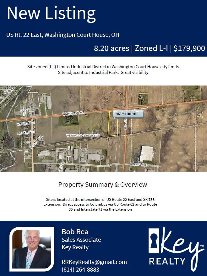 New listing property information. US Rt. 22  Washington court house OH. 8.20 acres. Zoned L-I. $179,